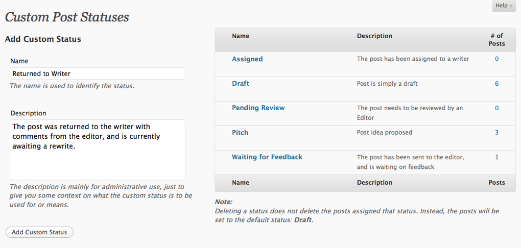 The interface to add, edit and manage custom statuses.