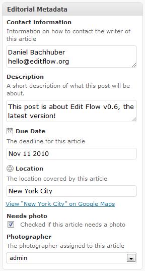 Editorial Metadata in each post
